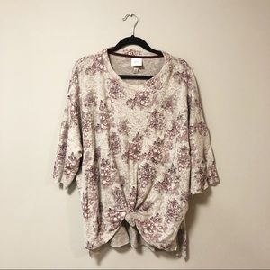 Knox Rose Floral Knotted Hi Lo Sweatshirt Top